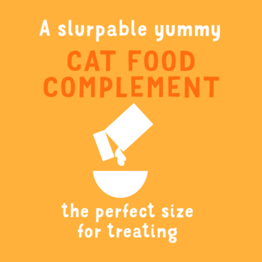 A slurpable yummy cat food complement
