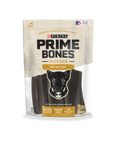 Prime Bones Rawhide-Free Medium Dog Filled Chew With Wild Boar