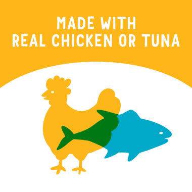 Made with real tuna or chicken
