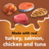 Made with real turkey salmon chicken and tuna